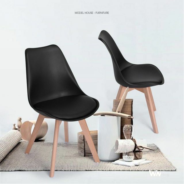 Ghế eames nệm chân gỗ màu đen