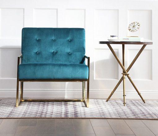 Bella sofa đơn chân inox mạ vàng cao cấp