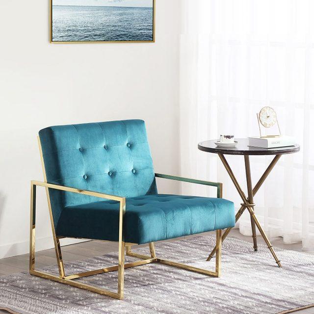 Bella sofa đơn chân inox mạ vàng