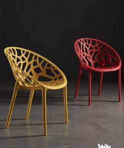 Ghế nhựa Crystal màu vàng cam và màu đỏ