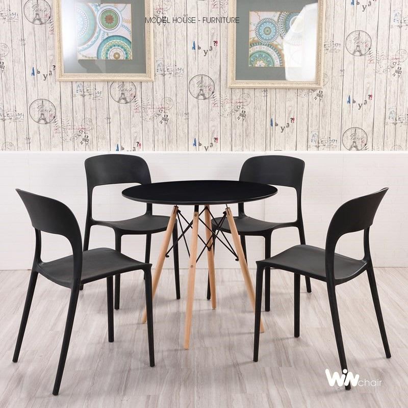 Ghế nhựa đúc Milan màu đen