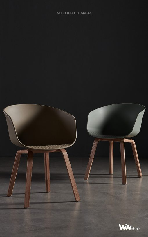Ghế nhựa chân gỗ hiện đại cho bàn ăn WC025
