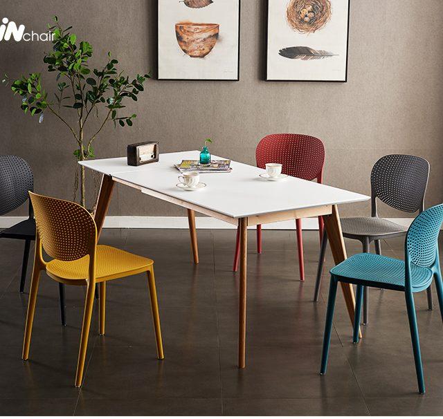 Bộ bàn ăn 6 ghế nhựa WC018 rất gọn và tiết kiệm diện tích