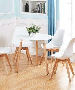 Bộ bàn ăn 4 ghế eames mặt nệm CB002