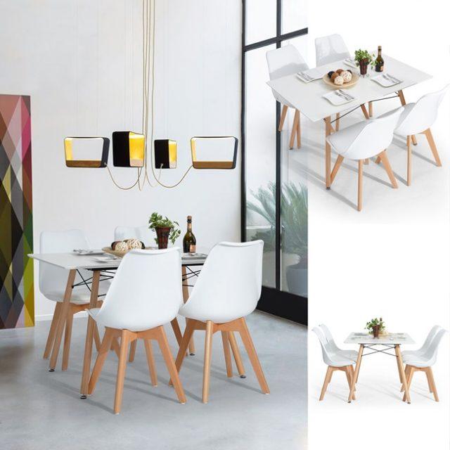 Bộ bàn ăn 4 ghế eames mặt nệm CB005