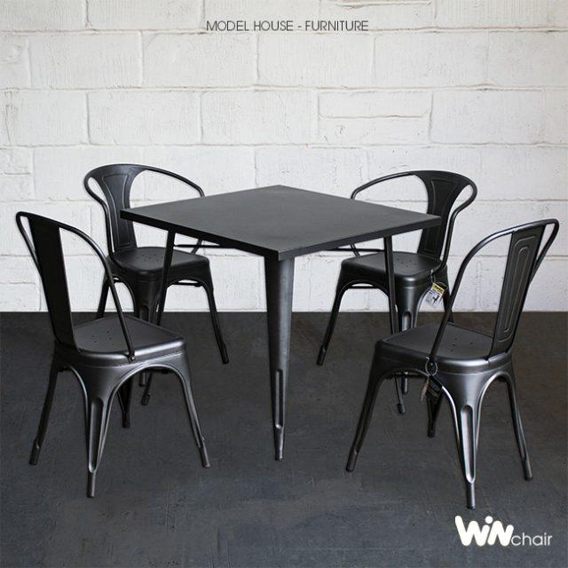 Bộ bàn tolix 4 ghế cho cafe CB003