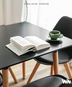 Bộ bàn vuông 4 ghế Eames màu đen