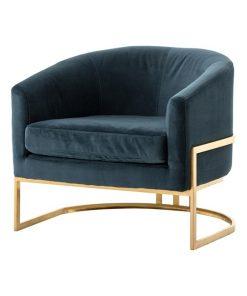 Croow chair ghế sofa đơn chân inox mạ vàng
