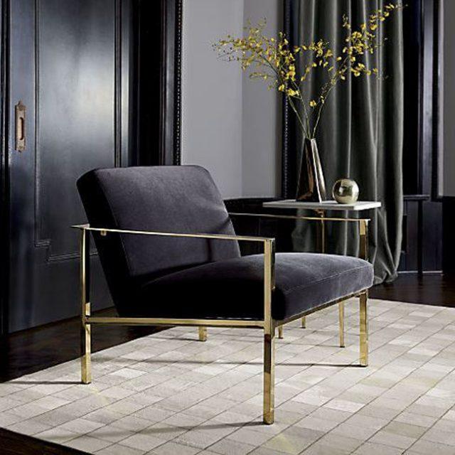 Cue chair sofa đơn chân inox mạ vàng