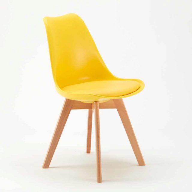 Ghế eames có nệm màu vàng WC043