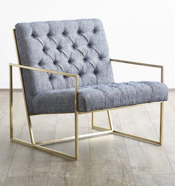 Ghế sofa đơn Bently chân inox mạ vàng