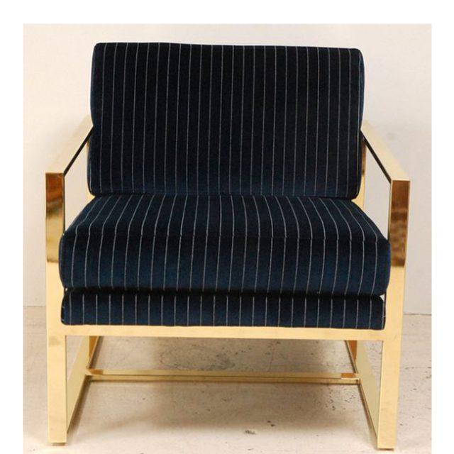 Ghế sofa đơn chân inox mạ vàng Moli chair