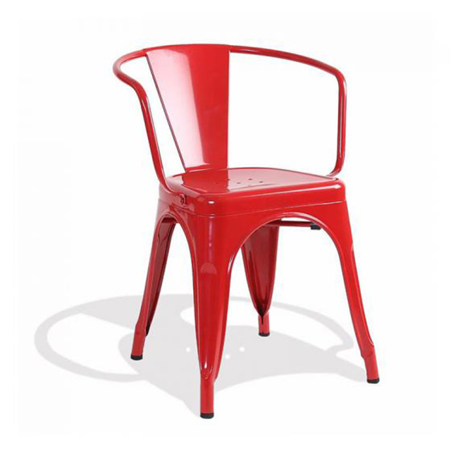 Ghế sắt Tolix có tay màu đỏ WC076