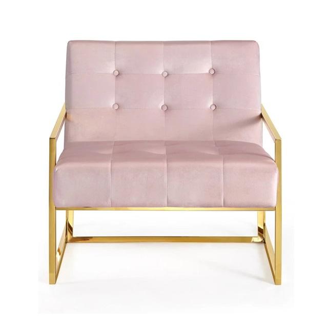Ghế Accent màu hồng chân inox xi vàng