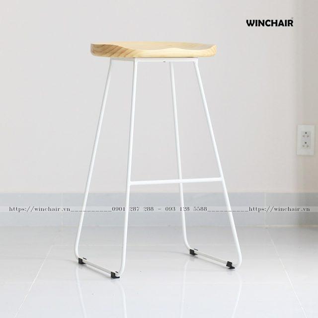 Ghế quầy bar mặt gỗ chân sắt hiện đại WC215