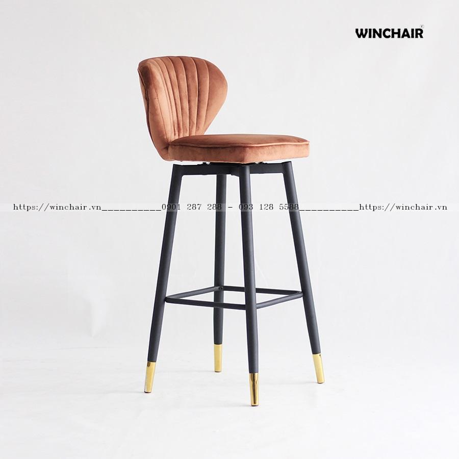Ghế quầy bar nệm da chân sắt đẹp WC244