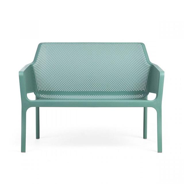 Ghế nhựa ngoài trời cao cấp Net Bench màu xanh lá bạc
