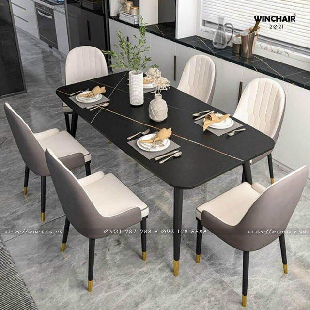 Bộ bàn ăn 6 ghế mặt đá cao cấp CB026