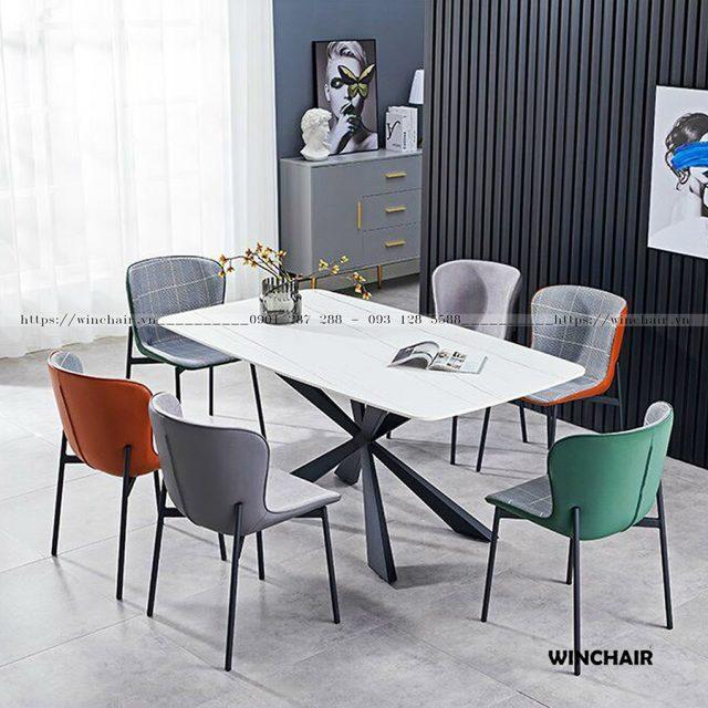 Bộ bàn ăn mặt đá 6 ghế hiện đại CB027